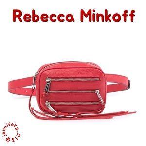 REBECCA MINKOFF THREE ZIPPER LEATHER BELT BAG NWT